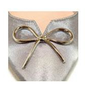 metallic silver bow